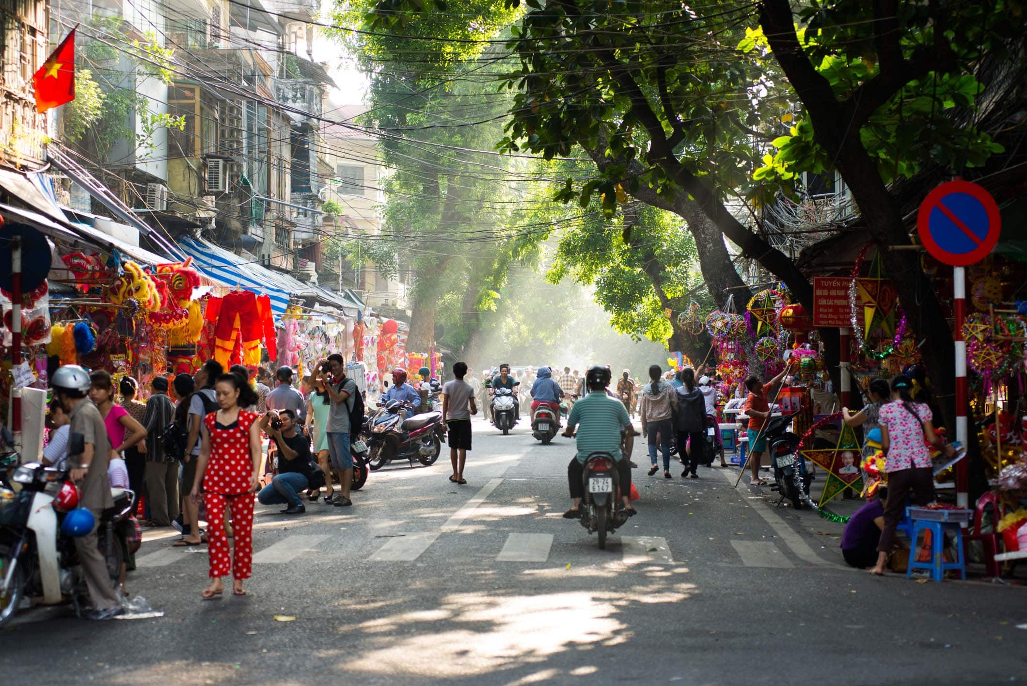 Hanoi town street in early morning.